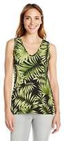 Caribbean Joe Women's Best Selling Sleeveless V Neck Leaf Printed Tank Top