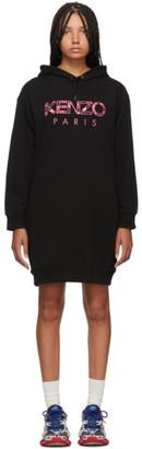 Kenzo Black Paris Peony Sweatshirt Dress