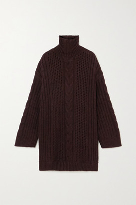 Nanushka Diya Cable-knit Turtleneck Sweater - Burgundy