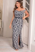 Jessica Wright Sistaglam Loves Giselle All Over Lace Navy Maxi Dress