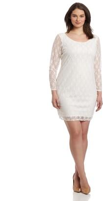 Star Vixen Women's Plus-Size 3/4 Sleeve V-Back Lace Dress