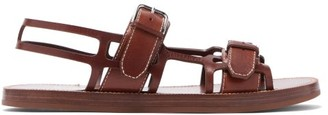 Burberry Caged Contrast-stitch Leather Sandals - Mens - Tan