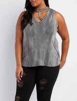 Charlotte Russe Plus Size Caged O-Ring Tank Top