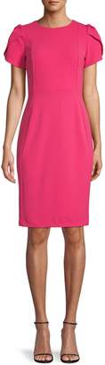 Calvin Klein Pleated-Sleeve Sheath Dress