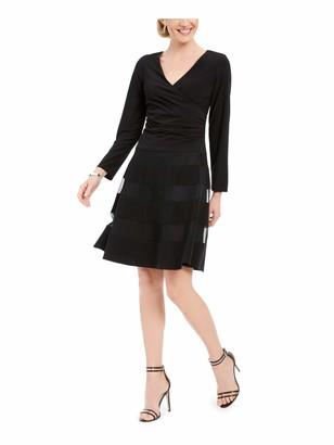 R & M Richards R&M Richards Womens Black Long Sleeve V Neck Knee Length Fit + Flare Dress Petites UK Size:10