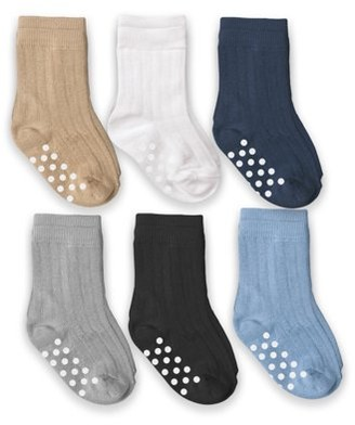 Jefferies Socks Baby Boys Non-Skid Assorted Crew Dress Socks, 6-Pack