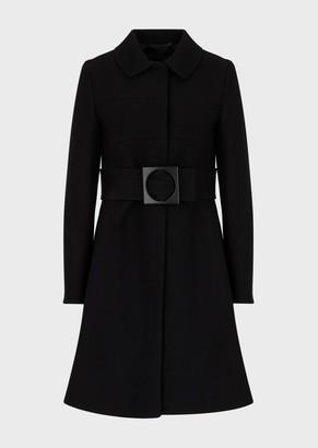 Emporio Armani Virgin-Wool Coat With Oversized Belt