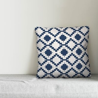 """Wrought Studioâ""""¢ Mccomb Boho Aztec Indoor/Outdoor Throw Pillow Wrought Studioa Color: Navy/Off White, Size: 20"""" x 20"""", Fill Material: No Fill"""