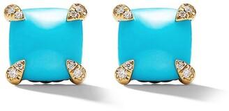 David Yurman 18kt yellow gold Chatelaine turquoise and diamond stud earrings
