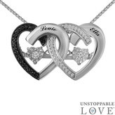 Zales Unstoppable LoveTM 1/10 CT. T.W. Enhanced Black and White Diamond Hearts Pendant in Sterling Silver (2 Names)