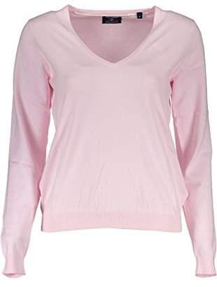 Gant Women's Soft Cotton V-Neck Jumper, (Light Pink), 8 (Size:)