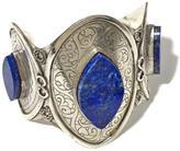 "BAJALIA ""Baheera"" Lapis Silvertone Medallion-Style Cuff Bracelet"