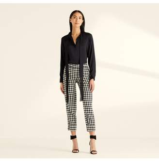 Amanda Wakeley Ecru Black Check Tailoring Peg Pant