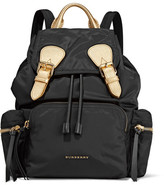 Burberry Medium Metallic Textured Leather-trimmed Gabardine Backpack - Black
