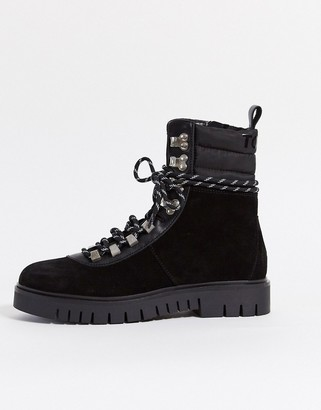 Tommy Hilfiger Tommy Jeans suede lace-up hiker boots in black