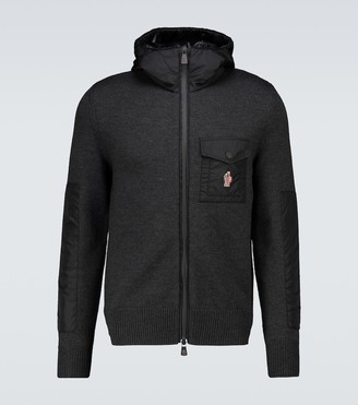 MONCLER GRENOBLE Tricot wool and nylon zipped sweater