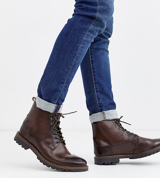 Wide Fit Callahan lace up boots in dark brown