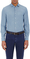 Boglioli Men's Solid Chambray Shirt-BLUE