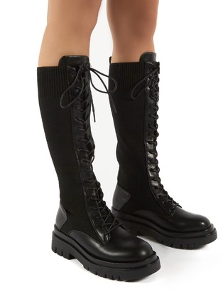 Public Desire Uk Embark Chunky Sole Knee High Lace Up Boots