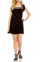 Sequin Hearts Embroidered Trim Trapeze Dress