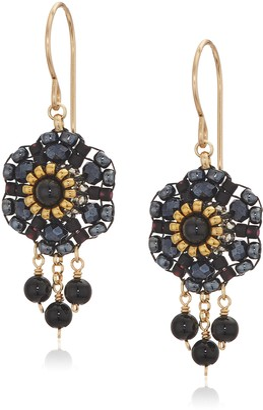 Miguel Ases Women's 3D Dahlia Triple Onyx Wrap Dangle Obsidian Rose Gold Drop Earrings