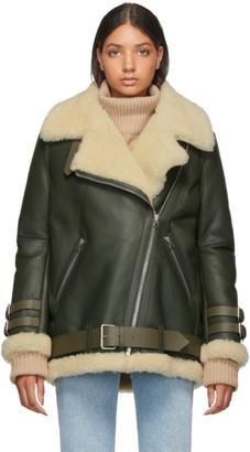 Acne Studios SSENSE Exclusive Green Shearling Aviator Jacket
