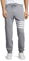 Thom Browne Terry Striped-Detail Drawstring Sweatpants, Gray