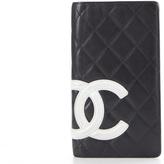 Chanel Black Lambskin White CC Cambon Ligne Bifold Wallet