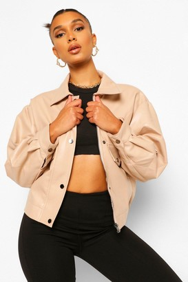 boohoo Faux Leather Bomber Jacket