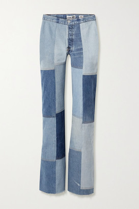 RE/DONE Amina Muaddi Patchwork High-rise Flared Jeans - Light denim