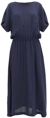 SU PARIS Tea Seersucker Midi Dress - Navy
