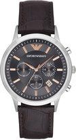 Emporio Armani Men's Chronograph Renato Dark Brown Leather Strap Watch 43mm AR2513