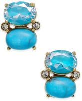 Kate Spade 14k Gold-Plated Enamel & Stone Oval Drop Earrings