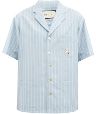 Gucci Cat-embroidered Striped Cotton-poplin Shirt - Blue