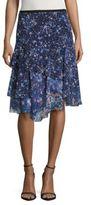 T Tahari Layered Mixed-Print Skirt