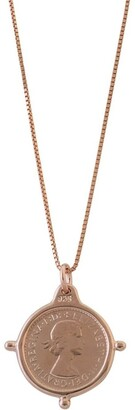 Mocha Box Chain Necklace w/ Compass Frame Threepence - Rose Gold Two