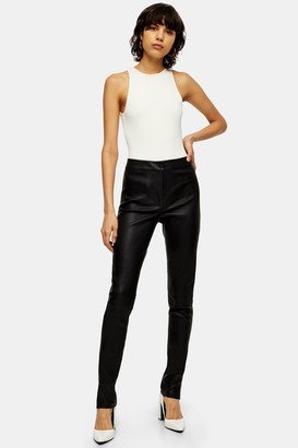 Topshop Black Skinny Leather Trousers
