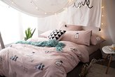 Bedding 4 Pieces Duvet Cover Set Adorable Reversible Printing 100% Cotton Full/Queen Size - Soft, Comfortable, Breathable, Durable - Hotel Quality by Bedream (Full Size, Cactus/Pink)