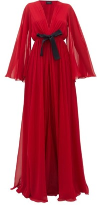 Giambattista Valli Ruffled Lace-trimmed Georgette Gown - Red