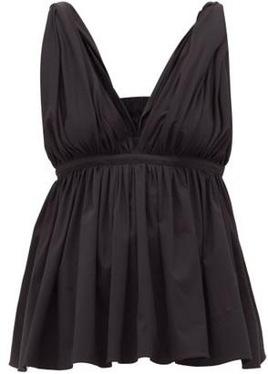 Rochas Empire-waist Cotton-blend Top - Womens - Black