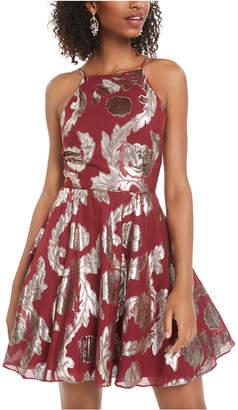 City Studios Juniors' Metallic-Print Fit & Flare Dress