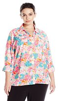 Notations Women's Plus Size 3/4 Roll Tab Sleeve Y Neck Printed Button Front Bluose