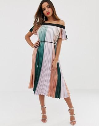 Ted Baker Fernee maxi dress in color block pleat