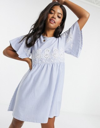 ASOS DESIGN smock mini dress in stripe with embroidery detail in blue and white