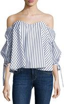 Caroline Constas Gabriella Off-The-Shoulder Striped Bustier Top