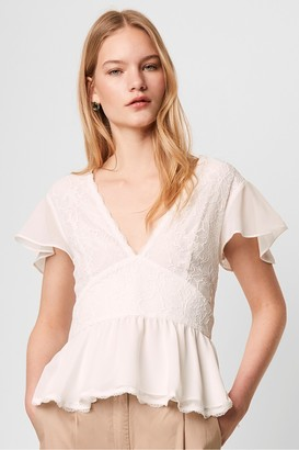 French Connection Bikita Lace Mix Short Sleeve Top