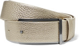 Brunello Cucinelli Metallic textured-leather belt