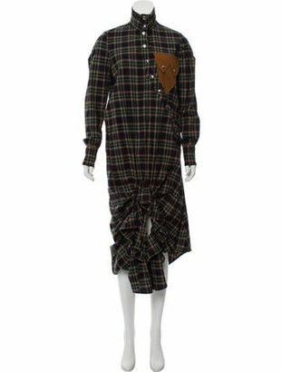 Victoria/Tomas Plaid Maxi Dress w/ Tags Green