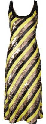 Diane von Furstenberg Luisa Striped Sequin-embellished Silk-chiffon Dress