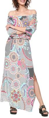 Desigual Dera Graphic Print Maxi Dress with Off-the-Shoulder Neck